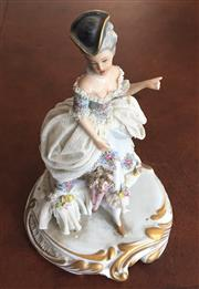 Sale 8341A - Lot 97 - An Italian crinoline figure of and C18th lady (damages), H 21cm