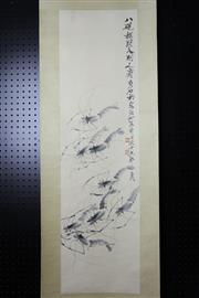 Sale 8393 - Lot 81 - Chinese Scroll; Shrimp Depiction on a Pale Yellow Mounting; Signed