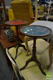 Sale 8499 - Lot 1385 - Pair of Turned Timber Wine Tables with Alternate Inlaid Leather Top