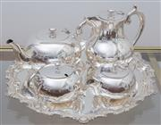 Sale 8530A - Lot 40 - An Art Deco Perfection silverplate four piece tea & coffee service on a Hardy Brothers silverplate tray with Chippendale border, Tra...