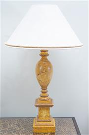 Sale 8562A - Lot 127 - A pair of marble effect ovoid form table lamps on column supports with cream fabric shades with rope edge, total H 80cm