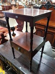 Sale 8774 - Lot 1092 - Small Late Georgian Mahogany Washstand, of two tiers on turned supports, the lower fitted with a drawer