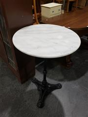 Sale 8988 - Lot 1060 - Waterproofed Marble Top Table on Cast Iron Base (H: 75 x Diameter Top: 50cm)