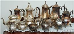 Sale 9103M - Lot 542 - Large collection of plated tea and coffee wares including pots, sugars and creamers, tallest Height 27.5cm