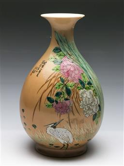 Sale 9164 - Lot 386 - Chinese Republic Style Pear shaped vase, decorated with stork, flowers and calligraphy, restored V shaped chip to mouth rim,