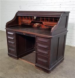 Sale 9179 - Lot 1072 - Late 19th/ Early 20th Century Cutler Roll-Top Desk, enclosing a fitted interior, with two slides & eight graduated drawers -  key &...