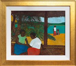 Sale 9191H - Lot 8 - RAY CROOKE (1926 - 2015) Islanders oil on canvas on board 48.5 x 58.5 cm (frame 69 x 79 cm) signed lower right
