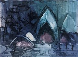 Sale 9257A - Lot 5028 - ARTIST UNKNOWN Sydney Opera House, 1984 etching and aquatint 38 x 50 cm (frame: 60 x 75 cm) signed lower right