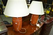 Sale 8093 - Lot 1327 - Pair of Table Lamps with Shades