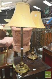 Sale 8272 - Lot 1099 - Pair of Brass Style Base Table Lamps