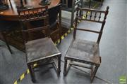 Sale 8338 - Lot 1189 - Set of Four French or Flemish Timber Framed Chairs with Pressed Leather Seats