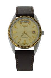 Sale 8406A - Lot 10 - Vintage mens Ricoh day / date 21 jewel wristwatch, bright gold dial, stainless steel case, automatic, 37 mm, in working order