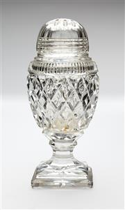 Sale 8651A - Lot 63 - A Georgian design hand cut lead crystal castor raised on a stepped square base. c. 1920s, H 15cm