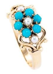 Sale 8915 - Lot 368 - A VICTORIAN STYLE FORGET ME NOT RING; set with seed pearls and turquoise beads in 9ct gold, size O.