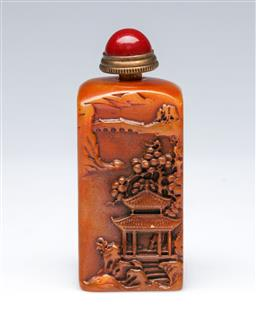 Sale 9098 - Lot 167 - Carved Temple Themed Snuff Bottle/Seal (H:7.5cm)
