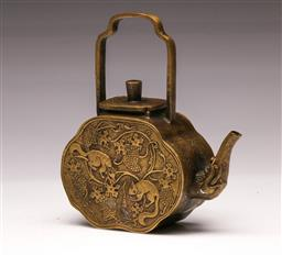 Sale 9110 - Lot 42 - A Chinese brass teapot with animal engraving & character base H14cm