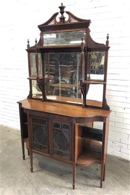 Sale 9126 - Lot 1171 - Edwardian Carved Walnut Parlour Cabinet, the high mirror back with shelves, above two astragal doors, flanked by open shelves & rais...