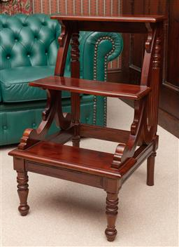Sale 9260M - Lot 48 - A Mahogany library step ladder (H 80cm 48cm x 52cm) plaque to back reads Classic Mahogany Collection