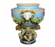 Sale 8139 - Lot 56 - Mintons Oversized Majolica Footed Jardiniere