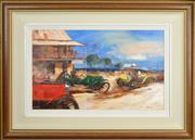 Sale 8301 - Lot 532 - Colin Parker (1941 - ) - The Dirt Track Race, Horseman, Western Australia 37 x 59cm
