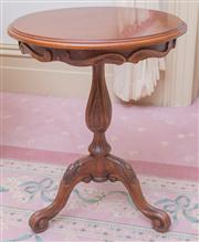 Sale 8430 - Lot 86 - A pair of Victorian style carved occasional tables with circular top and baluster pedestal