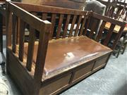 Sale 8740 - Lot 1531 - Timber Three Seater Day Bed with Lift Top Upholstered Seat