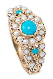 Sale 8982 - Lot 372 - A VICTORIAN STYLE GEMSET CLUSTER RING; top and split shoulders set with seed pearls and turquoise in 9ct gold, size N1/2, top width...