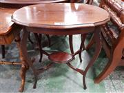 Sale 8993 - Lot 1019 - Edwardian/ 1920s Possibly Maple Occasional Table, with shaped top, cabriole legs & joined by a lower shelf (H:72 x W:67 x D:45cm)