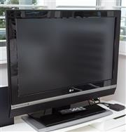 Sale 9023H - Lot 13 - A LG TV  Model #37LC2D on a rotating stand together with entertainment shelf and drawers