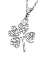 Sale 9083 - Lot 393 - A STERLING SILVER PENDANT NECKLACE; 22mm long four leaf clover set with 12 single cut diamonds totalling 0.10ct on a fine link chain...