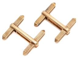 Sale 9099 - Lot 68 - A pair of 9ct gold T bar cufflinks., total weight 7.84g
