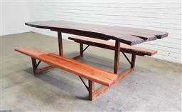 Sale 9151 - Lot 1400 - Live edge resin picnic table with mahogany top, serving board and blackbutt benches (h:74 x w:224 x w:135cm)