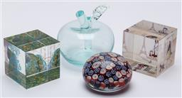 Sale 9099 - Lot 51 - Four pieces of art glass including paperweights, Height 8cm