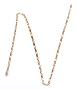 Sale 9209J - Lot 357 - A 9CT GOLD FIGARO CHAIN; 3.5mm wide chain to parrot clasp, length 60cm, wt. 13.98g.