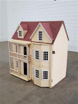 Sale 9254 - Lot 2284 - Timber dolls house with furniture (h:71 xw:65 x d:43cm)