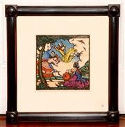 Sale 8107B - Lot 87 - ALTHEA MARY (Thea) PROCTOR (1879-1966) The Swing, 1925  hand coloured woodcut 24,5 x 24.5cm titled, numbered and signed belo...
