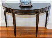 Sale 8308A - Lot 162 - One of a pair (lot 3) black lacquered demi lune console table on 4 tapering legs. Ht: 72cm x W: 120 x D: 54.