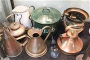 Sale 8362 - Lot 214 - Copper Jardiniere with Other Metal Wares incl. Kettles