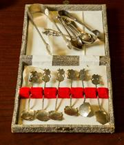 Sale 8418A - Lot 50 - A pair of silver Georgian tongs, 1798, together with a boxed set of 6 silver coffee spoons, a small group of silver spoons, includin...