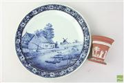 Sale 8473 - Lot 21 - Blue and White Charger with Wedgewood Vase