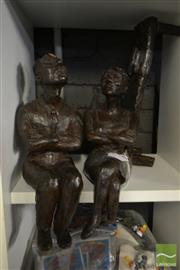Sale 8513 - Lot 2074A - Genevieve Branagan - The Lovers, ceramic and wood (AF), 38h x 42w x 26d cm
