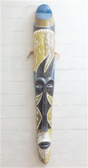 Sale 8550H - Lot 169 - A composite mask of south east pacific island origin in painted in olive, blue and black pattern, H 112cm