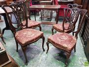 Sale 8559 - Lot 1074 - Set of Four Late Victorian/ Edwardian Mahogany Parlour Chairs, with Chippendale style back, red upholstered seats & cabriole legs