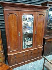 Sale 8792 - Lot 1025 - Victorian Probably Satinwood Wardrobe, with central mirror flanked by two panelled doors and four drawers below (H: 212 W: 153cm)