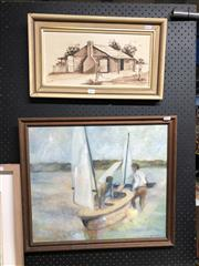 Sale 8903 - Lot 2091 - Two original paintings by V.Gage & J.Marsha,  Bushrangers House, and Men in Sailboat. 47 x 59 cm and 28 x 49 cm