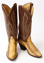 Sale 9090F - Lot 96 - A PAIR OF TONY LAMA SNAKESKIN AND LEATHER WOMENS COWBOY BOOTS; with leather calf embroided with wing pattern, Size US 6B