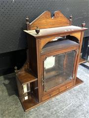 Sale 9048 - Lot 1033 - Victorian Inlaid Rosewood Wall Hanging Cabinet, with mirrored alcove, above a bevelled glass panel door flanked by shelves & trinket...
