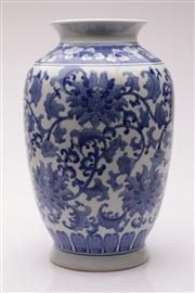 Sale 9040 - Lot 24 - A Blue And White Decorative Chinese Vase H: 35cm
