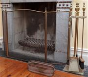 Sale 9055H - Lot 14 - A brass and mesh three-fold spark guard together with a set of matching fire tools (pitting) plus an oval brass trough.