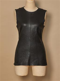 Sale 9093F - Lot 64 - A Scanlan Theodore black leather sleeveless top, size 10